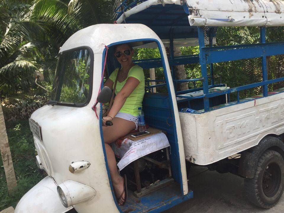Try travelling by Vietnamese tuk tuk on the Mekong tour